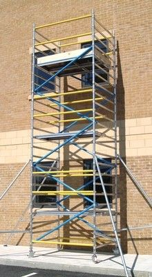 Single & double width aluminium tower upto 7.2 metres. Colour coded braces to help make assembly easier